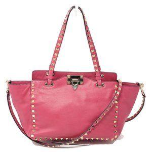 Auth Valentino Small Rockstud Pink Cross body Bag